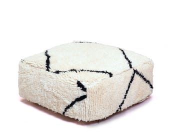 Moroccan Pouf, Floor Cushion, Beni Ourain Pouf Ottoman, Floor Pillow, Foot Stool, Refashioned from a New Moroccan Rug.  PNJ002