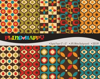 70% OFF Retro Digital Papers, Retro Digital Papers Graphics, Personal & Small Commercial Use, Instant Download