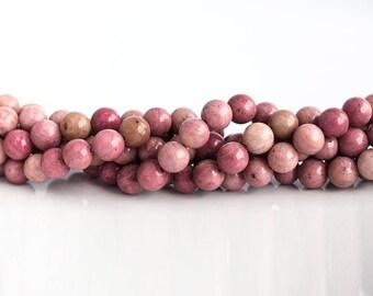 26151 Rhodochrosite Round beads Stone beads Gemstone beads Pink stones 9 mm Pink gemstones Semi precious stones Semi-precious pink stone.