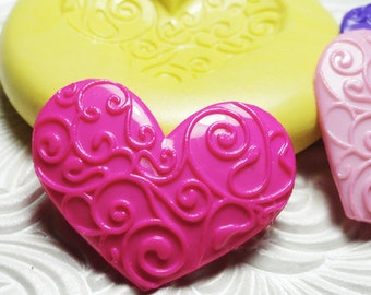 SWIRL HEART MOLD Flexible Silicone Rubber Push Mold for Resin Wax Fondant Clay Ice 6024