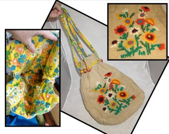 Vintage Handmade Drawstring Burlap Purse Tote Bag with Floral lining and decorated with flowers, 70s, boho, hippie chic