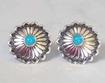 Native American Navajo Sterling Silver Turquoise Concho Stamped Stud Earrings