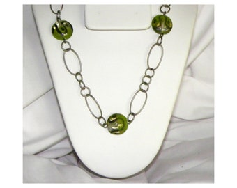 Pewter Tone Chain and Green Lampwork Glass Bead Necklace