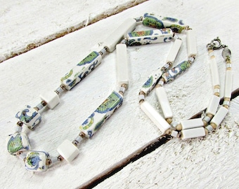 Vintage Ceramic Bead Necklace, Delft Pottery Style Necklace, Blue & White Porcelain Flower Necklace, 1970s Costume Jewelry, Gift for Mom