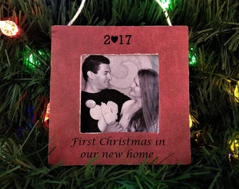 First christmas in new home ornament 2017 picture frame, poinsettia ornaments personalized
