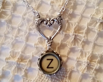 Z Typewriter Key Necklace, Letter Z Pendant, Heart Necklace, Filigree Heart, Antique Typewriter Key Z, Initial Z Jewelry, Gift for Her