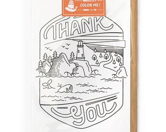 Adult Coloring, Thank you Card, Coloring Cards, Cards for Him, Modern Cards for Him or For Her