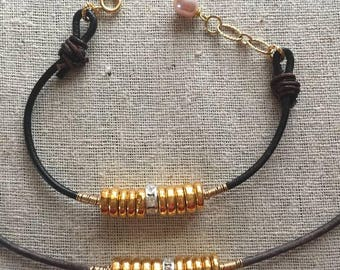 Gold, Crystal and Leather Bracelet