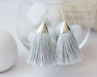 Unique earrings with silk tassels,Tassel,Textile Earrings, Tassel Jewelry, Eco Friendly, Gipsy Fringe Earrings, Boho, Grey Silk Earrings