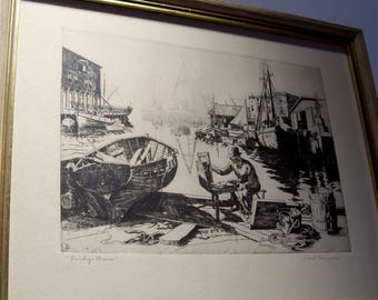 "Lionel Barrymore Etching  ""Purdy's Basin"" Under Glass Wood Frame Great Gift"