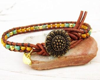 Sunflower Single Leather Wrap Bracelet, Seed Bead Bracelet, Sunflower Bracelet with Bird, Organic Boho Wrap Bracelet