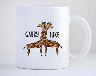 Couples Mug, Love Mug, Engagement Mug, Wedding Mug, Giraffe Mug, Personalized Mug