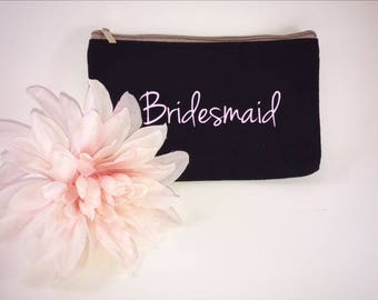 Bridesmaid Makeup Bag / Bridesmaid Cosmetic Bag / personalized makeup bag / personalized cosmetic bag/ bridesmaid gift/ custom cosmetic bag