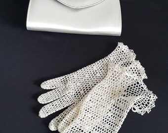 Bridal Crochet Gloves, Light Ivory, 100% Silk