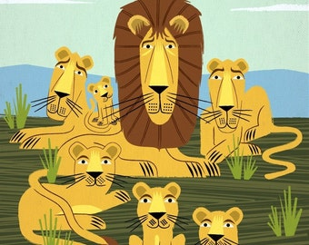 The Laid Back Lions - Animal Design - Wall Art - Children's Decor - Limited Edition Art Poster Print by Oliver Lake