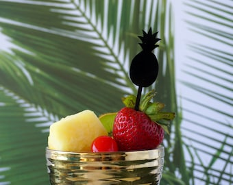 Pineapple Cupcake Toppers and/or Appetizer Picks, Laser Cut, Acrylic 6 CT., Tropical