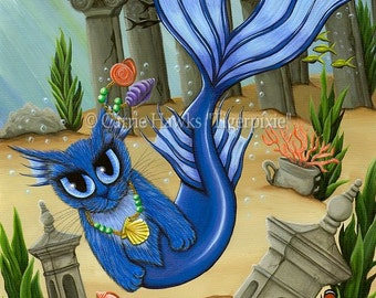 Mermaid Cat Art Atlantis Mercat Fantasy Cat Art ACEO / ATC Mini Print Cat Lover Gift