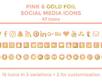 Pink Gold Social Media Icons Buttons Website Icons Pink Gold Foil Blog Icons Gold Social Media Icons Social Media Graphics Twitter