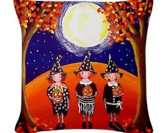 3 Witches Halloween Pillow - Woven Throw Pillow Whimsical Art by Renie Britenbucher