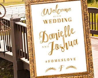 Gold Wedding Welcome Sign, Printable Welcome Sign, Gold and White Wedding Welcome Sign, Gold and White Wedding, Hashtag Wedding Sign