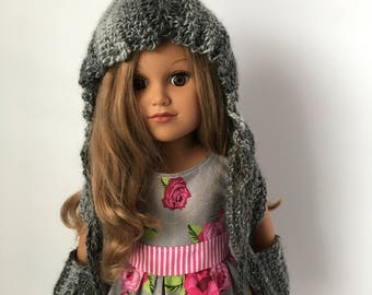 """18"""" Doll HOODED POCKET SCARF.  Crocheted Hooded Scarf.  Doll Scarf. Doll Accessories.  Crocheted Doll Scarf.  Fits American Girl Doll."""