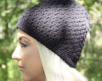 Black Beanie Hat, Black Hat, Black Slouchy Beanie, Black Crochet Hat, Black Winter Hat, Black Slouchy Hat, Crochet Beanie Hat, THE ACADIA
