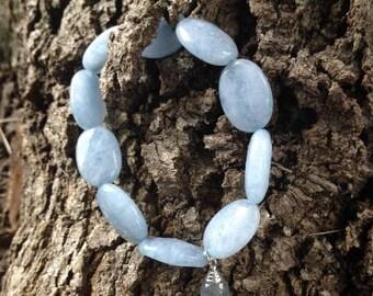 Aquamarine~Labradorite Dew Drop stretch Bracelet