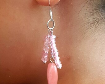 Pink stone and glass cluster earrings, gift for her