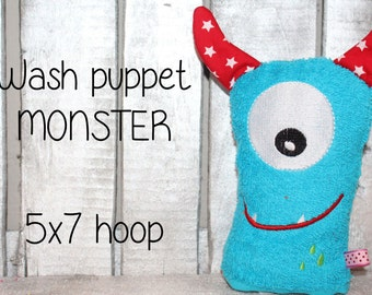 WAS-002 - 5x7 hoop - Wash Puppet - MONSTER - ITH - In The Hoop - Machine Embroidery Design File, digital download