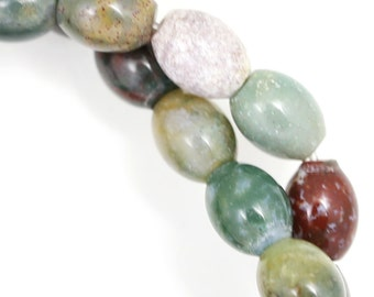 CLEARANCE. Fancy Jasper Beads - 10x8mm Oval - Full Strand