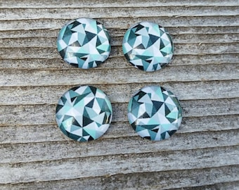 12mm Geometric Glass Cabochon