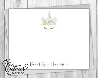 Unicorn Kids Stationery Stationary - Flat Note Cards Personalized Girls Boys Flower Crown Floral Watercolor Whimsical Fantasy Pink Gift Idea