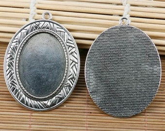 2pcs tibetan silver delicate oval cameo 25*35mm cabochon settings EF2139
