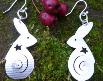 Hare Spiral Earrings, Jewellery, Silver, SquareHare, UK,  Free Shipping, Vegan wildlife celtic druid pagan magical fairytale handfasting fun