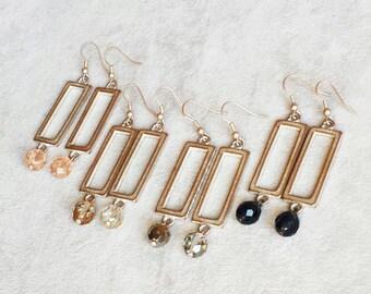 Zeitgenössische Moderne Ohrringe, geometrisch minimalistische Ohrringe, Rechteck Ohrringe, Geschenk für Frauen, Geschenk für sie, Geschenk für Mama