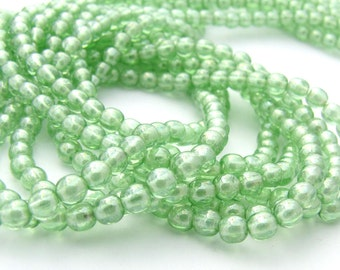 Luster Peridot Green 4mm Smooth  Round Czech Glass  Beads 100pc #2837