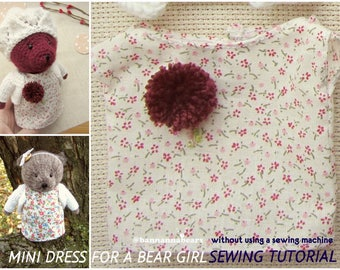 Sewing toy dress tutorial Bear dress sewing pattern Sewing toy clothes tutorial pdf Little amigurumi toy doll sewing pdf pattern tutorial