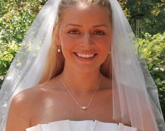 Collier de perles, collier de demoiselle d'honneur, demoiselle d'honneur cadeau, seule perle, Swarovski Ivoire Perle en argent Sterling - collier de perle Solitaire poire