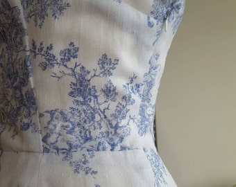 Handmade dress - vintage style - 1950s pattern - summer dress - day dress - wedding guest -blue & white - toile de jouy - fully lined