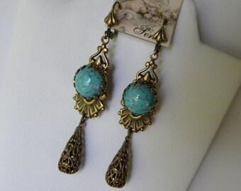 Turquoise Earrings, Robin's Egg Blue Turquoise, Long Dangle Victorian Filigree Earrings, Long Edwardian Earrings, Blue Tudor Earrings