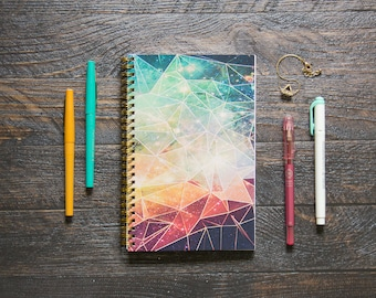 Medium Monthly Planner (120-Pages) | 24 Months | No Weekly Pages | Geometric Galaxy Planner