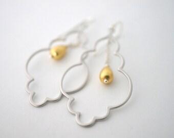 Moroccan Style Chandelier Earrings, Mixed Metal Earrings, Dangle Earrings, Silver & Gold Earrings