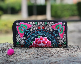 Pink Butterfly Flower Embroidered Women's Wallet   Fabric Wallet  Flower Boho Wallet   Vegan wallet  Hmong Clutch Purse