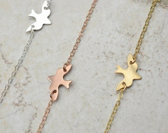 Soaring Dove Necklace, Bird Necklace, Rose Gold Necklace, Delicate Necklace, minimalist necklace, gold dove necklace, gift for her
