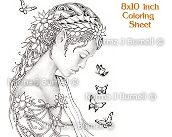 Dreamer Fairy Tangles Printable Coloring Book Sheets & Pages gray scale Images to color by Norma J Burnell Adult Coloring - Digital Coloring