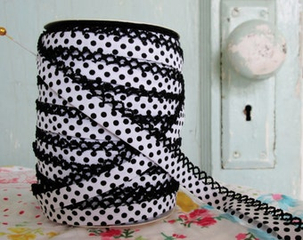Black on White Polka Dot Crochet Bias Tape (No. 214).  Sewing Supplies.  Quilt Binding.  Children's Clothing Supplies.  Craft Supplies.