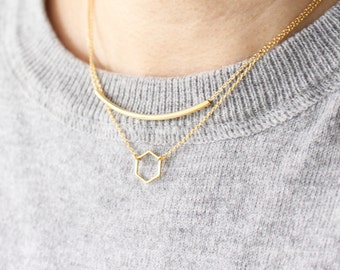 little Hexagon necklace -  Hexagon necklace - Gemetric necklace - gold