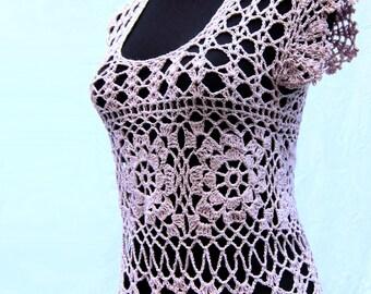 Crochet sweater, tank top, lilac sweater, lace, summer sweater, sleeveless, crochet tunic, womens clothing, crochet