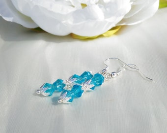 Aqua crystal bicone earrings