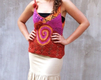 Spice boho fashion freeform crochet top blouse Bohemian clothing, OOAK, boho wedding